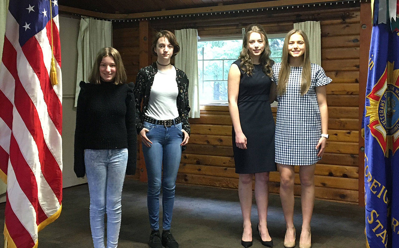 Honored by the local VFW were (from left) Anneliese Knoles, Alyson Holwege, Sophia DeMarco and Natalie DeMarco. They submitted top entries in the VFW's annual essay contests. Photo courtesy VFW Post 1949